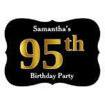 [ Thumbnail: Faux Gold Look 95th Birthday Party + Custom Name Invitation ]