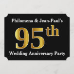 [ Thumbnail: Faux Gold Look 95th Wedding Anniversary Party Invitation ]