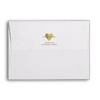 faux gold love heart with couple names and address envelope