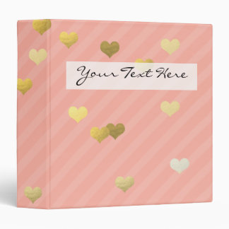 faux gold love hearts pattern, pastel pink stripes binder