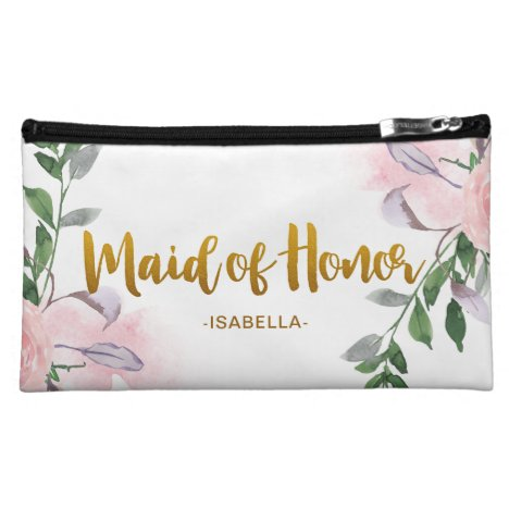 Faux Gold Maid of Honor Script Floral with Name Cosmetic Bag