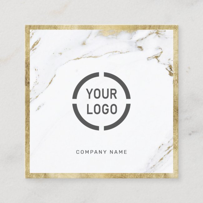 Faux gold marble custom company logo professional square business card