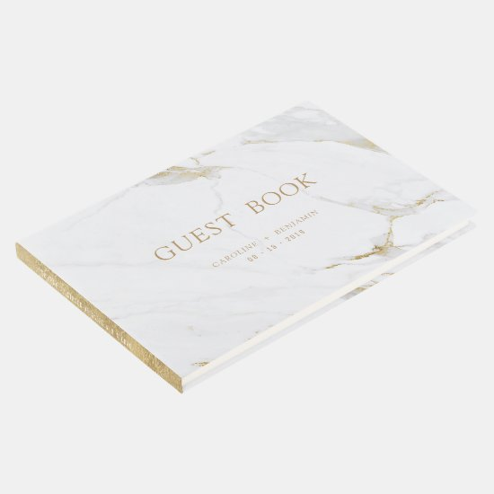 Faux gold marble luxury modern wedding guest book