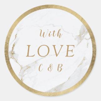 Faux gold marble modern wedding  love monogram classic round sticker