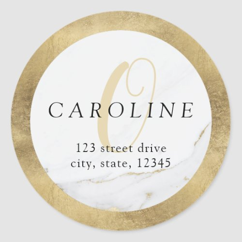 Faux gold marble monogram return address label