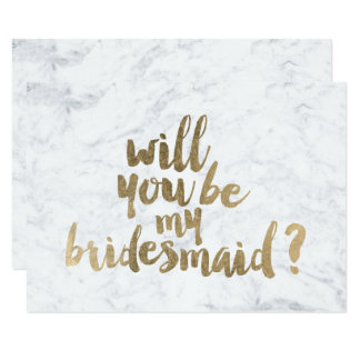 Faux gold marble Will you be my Bridesmaid Card