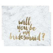 Faux gold marble Will you be my Bridesmaid Invitation