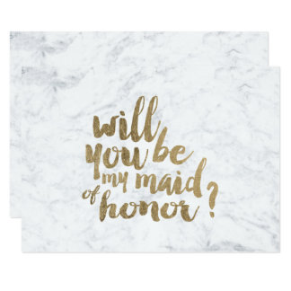 Faux gold marble Will you be my maid of honor Card