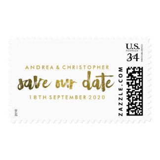 Faux Gold Marker Pen Save the Date Stamps