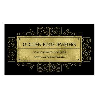 Faux Gold Metallic Black Ornamental Business Card