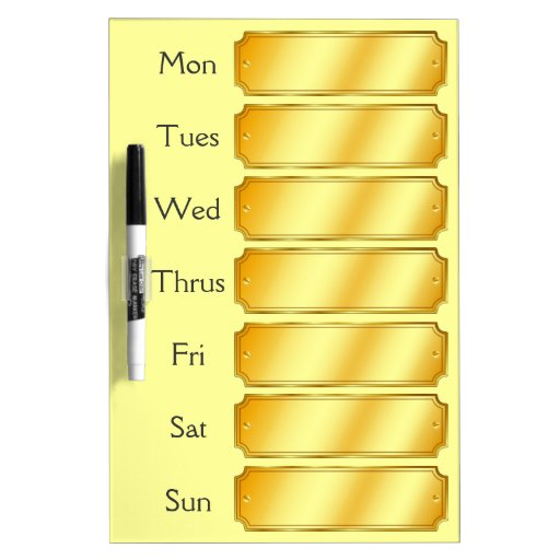 Faux Gold Metallic Sheen Color Weekly Appointment Dry-Erase Board