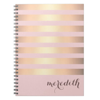 Faux Gold Metallic Striped Spiral Notebook