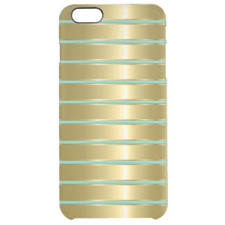Faux Gold Metallic Stripes Custom Mint Background Uncommon Clearly™ Deflector iPhone 6 Plus Case