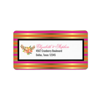 Faux Gold Metallic Stripes with Floral Wedding Label