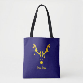 Faux gold minimalist Christmas reindeer on blue Tote Bag