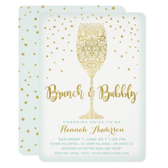 faux gold mint brunch bubbly bridal shower invitation zazzle com