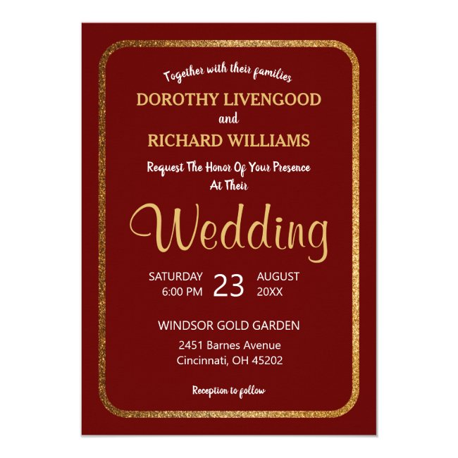 Faux Gold Modern Elegant Burgundy Wedding Invitation