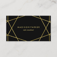 Faux Gold Modern Geometric on Black Business Card