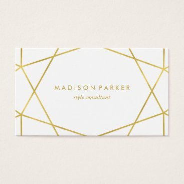 christine592 Faux Gold Modern Geometric on White Business Card