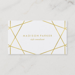 White and gold business cards zazzle faux gold modern geometric on white business card colourmoves