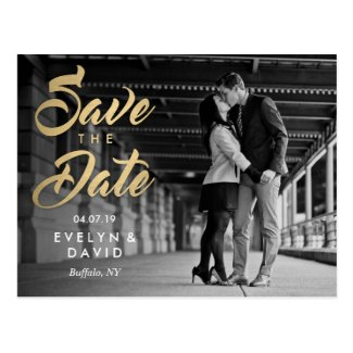 Faux Gold Modern Save the Date Postcards