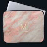 "faux gold monogram on rose gold marble computer sleeve<br><div class=""desc"">monogram on marble</div>"