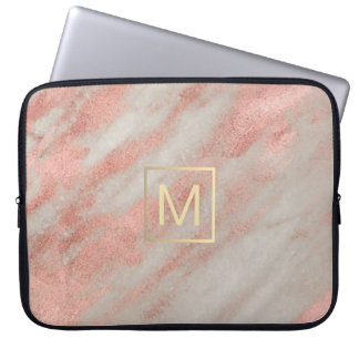 faux gold monogram on rose gold marble computer sleeve