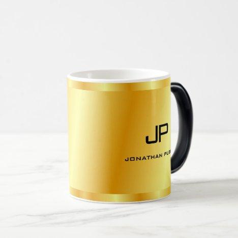 Faux Gold Monogram Personalized Template Magic Mug