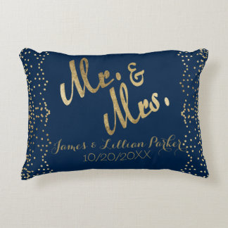 Faux Gold Mr. and Mrs. Monogram Wedding Decorative Pillow