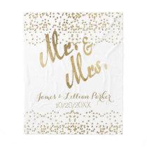 Faux Gold Mr. and Mrs. Monogram Wedding Fleece Blanket