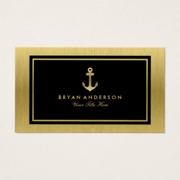 Professional Business Faux Gold Nautical Anchor Business Card