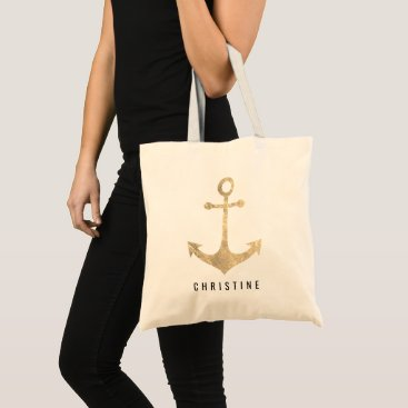 faux gold nautical anchor personalized name tote bag