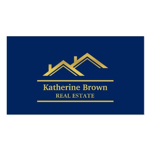 Faux gold navy blue modern real estate realtor business for Modern real estate business cards