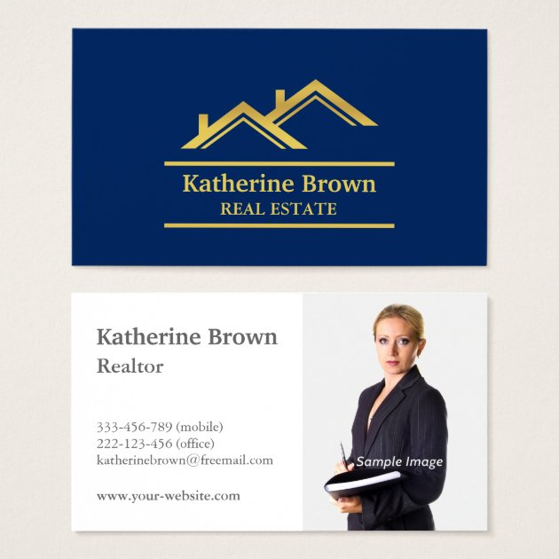 Faux Gold Navy Blue Modern Real Estate Realtor Business Card Zazzle