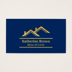 Faux Gold Navy Blue Modern Real Estate Realtor Business Card at Zazzle