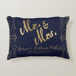 Faux Gold Navy Blue Mr. and Mrs. Monogram Wedding Accent Pillow