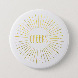 Faux Gold New Year Cheers Button