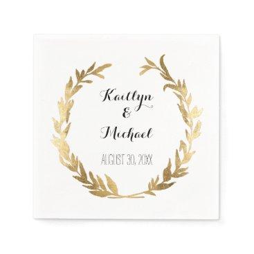 luxuryweddings Faux Gold Olive Leaf Laurel Wreath Bride Reception Paper Napkin