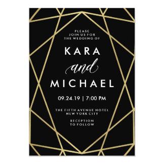 Faux Gold on Black Modern Geometric Wedding Card