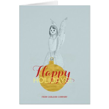 Professional Business Faux gold ornament blue angel red happy holiday card