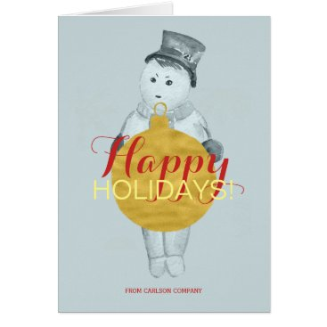 Professional Business Faux gold ornament blue snowman red happy holiday card