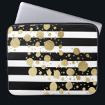 "Faux Gold Paint Splatter on Black and White Computer Sleeve<br><div class=""desc"">This elegant and swanky gold paint splatter on black and with stripes pattern is perfect for the trendy and stylish woman. It&#39;s modern and upscale print is great for many gifts and occasions.</div>"