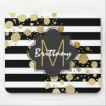 "Faux Gold Paint Splatter on Black &amp; White Monogram Mouse Pad<br><div class=""desc"">This elegant and swanky gold paint splatter on black and with stripes pattern is perfect for the trendy and stylish woman. It&#39;s modern and upscale print is great for many gifts and occasions. Just customize the swanky design with your own personalized monogram name and initial!</div>"