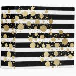 Faux Gold Paint Splatter on Black & White Stripes Binder
