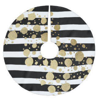 Faux Gold Paint Splatter on Black & White Stripes Brushed Polyester Tree Skirt