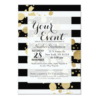Faux Gold Paint Splatter on Black & White Stripes Card