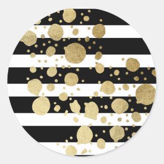 Faux Gold Paint Splatter on Black & White Stripes Classic Round Sticker