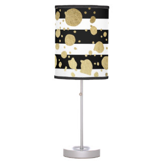 Faux Gold Paint Splatter on Black & White Stripes Desk Lamp
