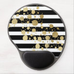 Faux Gold Paint Splatter on Black &amp; White Stripes Gel Mouse Pad<br><div class='desc'>This elegant and swanky gold paint splatter on black and with stripes pattern is perfect for the trendy and stylish woman. It&#39;s modern and upscale print is great for many gifts and occasions.</div>