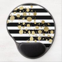 Faux Gold Paint Splatter on Black & White Stripes Gel Mouse Pad